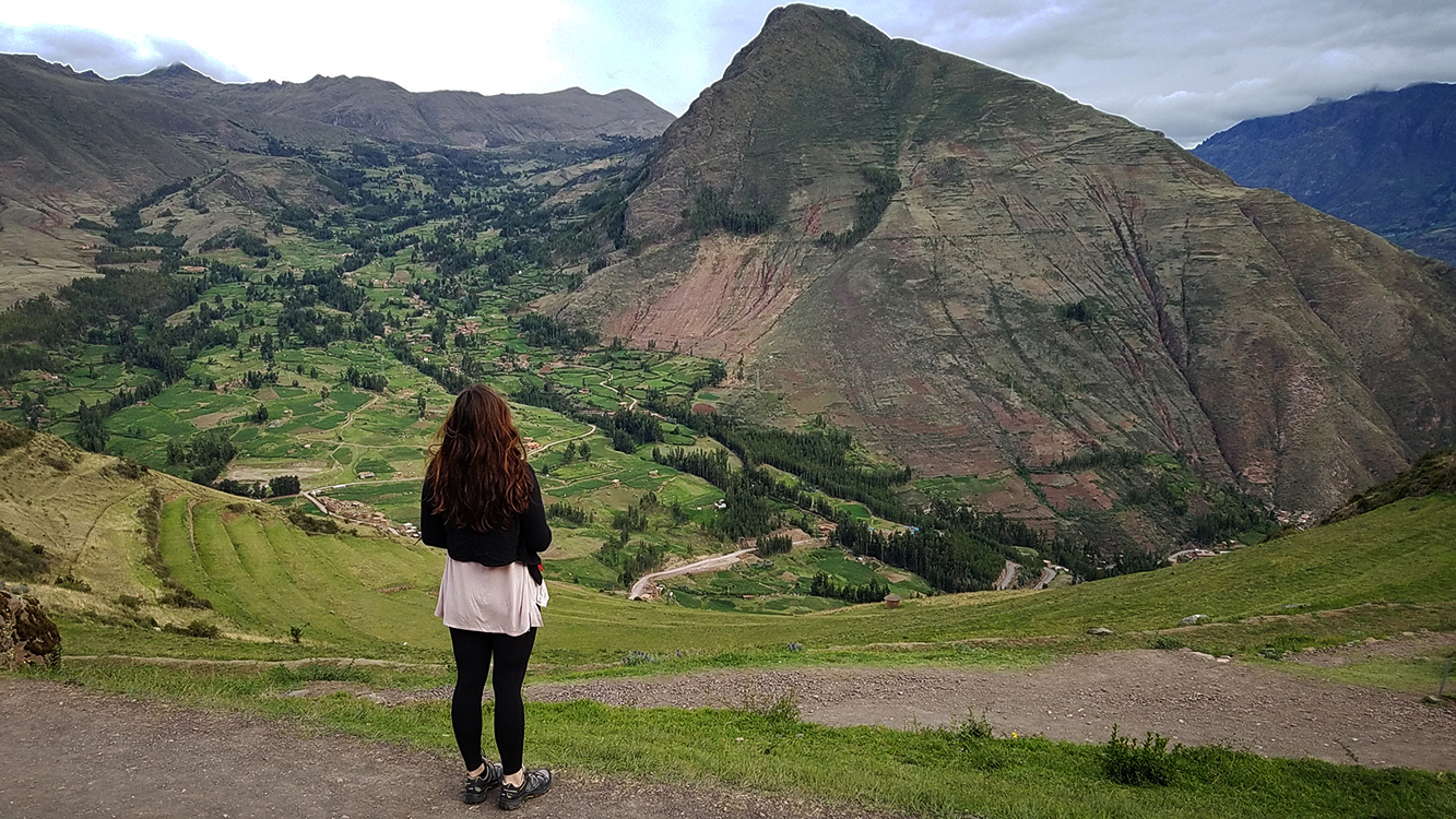 Admiring the view from Pisac, Peru Ruins
