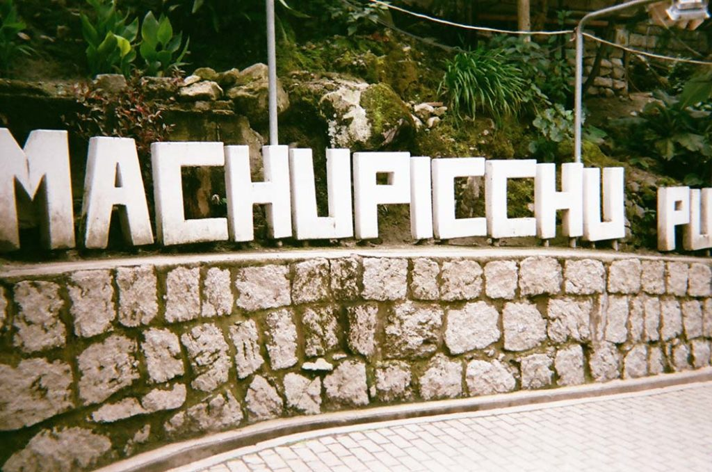 Machu Picchu Sign in Aguas Calientes or Machu Picchu Town