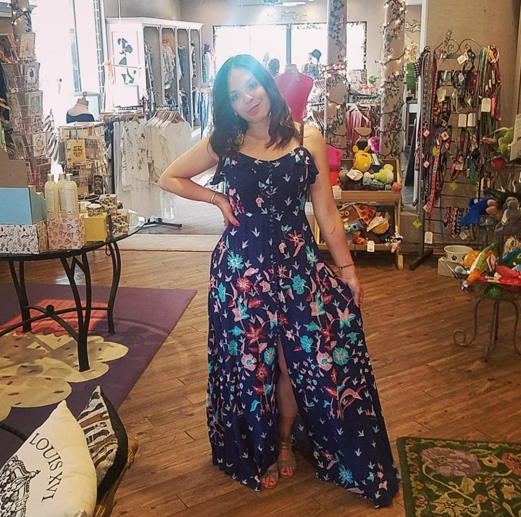 Linds trying on clothes at a Palm Springs Fashion Boutique