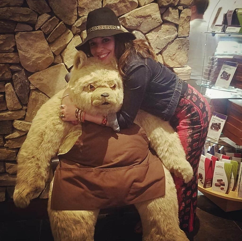 Fantasy Springs Casino and Linds hugging the Hotel bear