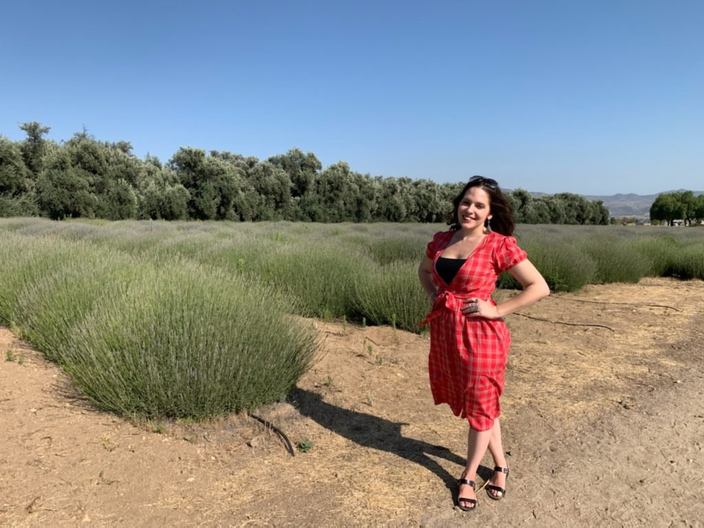 Linds standing in the lavender fields
