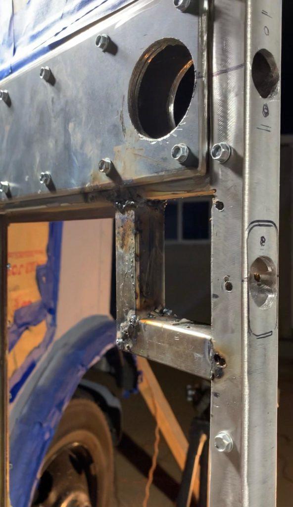 Welded frame for Bus Build Security Deadbolt
